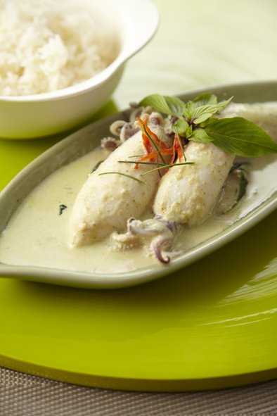 Stuffed Squid with Shrimp Mousse in Curry Sauce