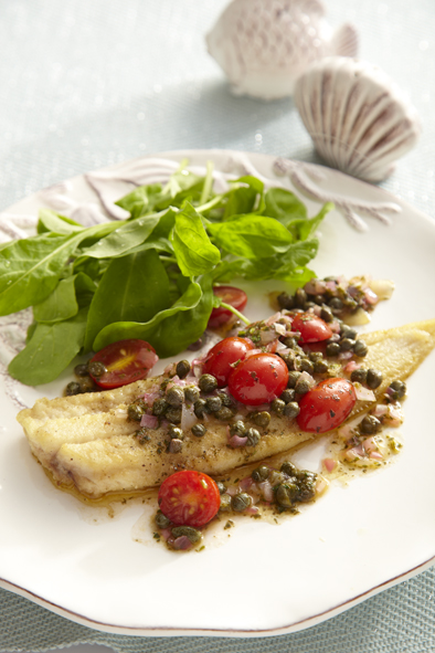 Sole with caper butter sauce